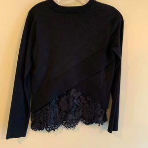 DKNY black Asymmetric Panel lace sweater small